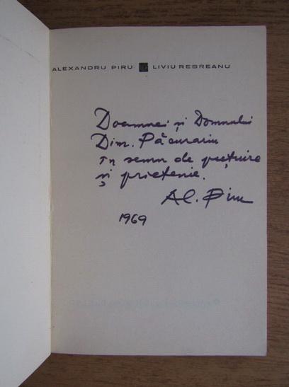 Anticariat: Alexandru Piru - Liviu Rebreanu Leben und werk (cu autograful autorului)