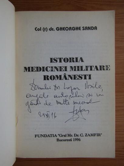 Anticariat: Gheorghe Sanda - Istoria medicinei militare romanesti (cu autograful autorului)
