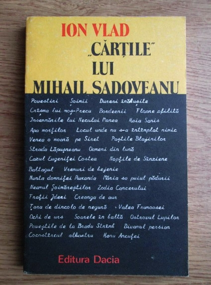 Anticariat: Ion Vlad - Cartile lui Mihail Sadoveanu