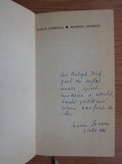 Anticariat: Marin Sorescu - Moartea ceasului (cu autograful si dedicatia autorului pentru Balogh Jozsef))