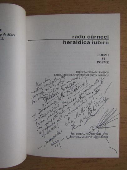 Anticariat: Radu Carneci - Heraldica iubirii (cu autograful autorului)