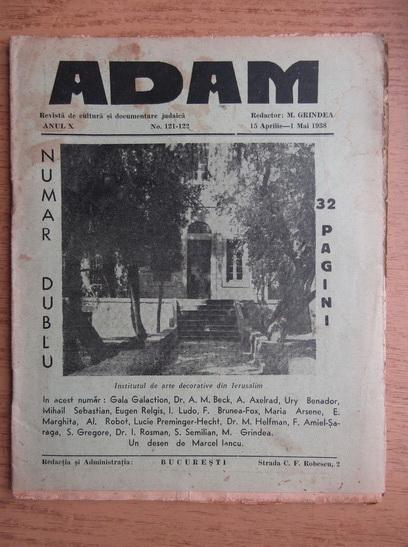 Anticariat: Revista Adam, fondator I. Ludo, anul X, nr. 121-122, 15 aprilie, 1 mai 1938