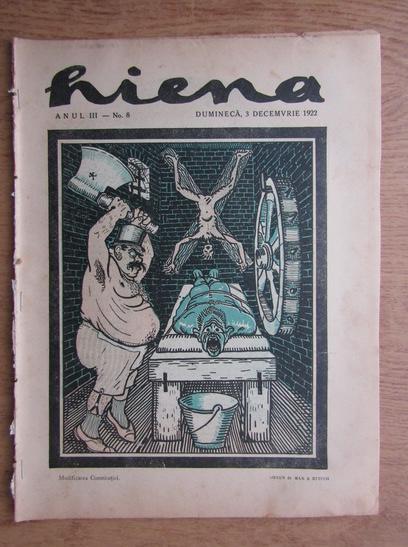 Anticariat: Revista Hiena, anul III, nr. 8, 3 decembrie 1922