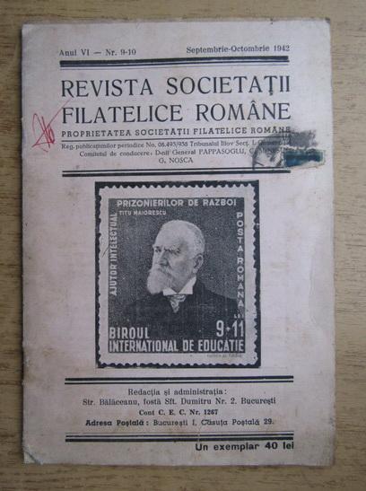Anticariat: Revista societatii filatelice romane, Anul VI, Nr. 9-10, Septembrie-Octombrie 1942