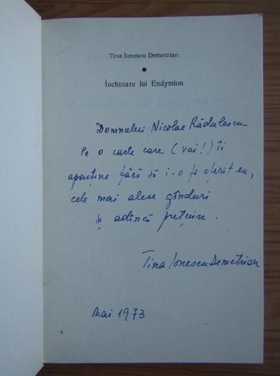 Anticariat: Tina Ionescu Demetrian - Inchinare lui Endymion (cu autograful autoarei)