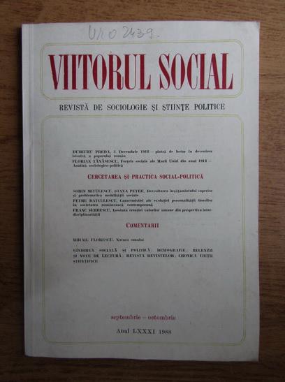 Anticariat: Viitorul social. Revista de sociologie si stiinte politice, septembrie-octombrie, 1988