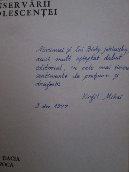 Anticariat: Virgil Mihai - Legea conservarii adolescentei (cu autograful autorului)