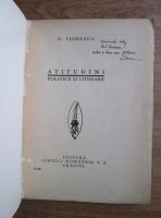 D. Tomescu - Atitudini politice si literare (editie anii 30 cu autograful si dedicatia autorului)