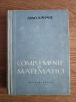 Arno Kahane - Complemente de matematici