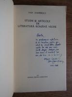 Anticariat: Dan Zamfirescu - Studii si articole de literatura romana veche (cu autograful autorului)