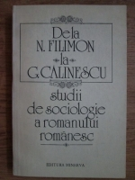 Anticariat: De la N. Filimon la G. Calinescu. Studii de sociologie a romanului romanesc