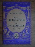 Doamna de Stael - De la litterature de l'Allemagne