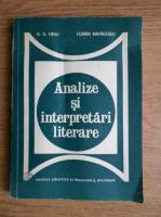 Anticariat: G. G. Ursu - Analize si interpretari literare