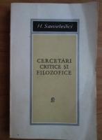 Anticariat: H. Sanielevici - Cercetari critice si filozofice
