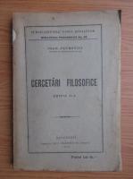 Anticariat: Ioan Petrovici - Cercetari filosofice (1926)