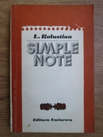 Anticariat: L. Kalustian - Simple note (volumul 1)