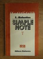 Anticariat: L. Kalustian - Simple note (volumul 4)
