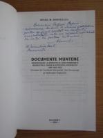 Mihail M. Andreescu - Documente muntene (cu autograful autorului)