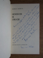 Anticariat: Mircea Martin - Generatie si creatie (cu autograful autorului)