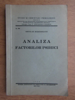 Nicolae Margineanu - Analiza factorilor psihici (1938)