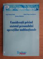 Paul Danut Duta - Consideratii privind statutul personalului operatiilor multinationale