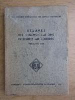 Anticariat: Resumes des communications presentees au congres. Varsovie 1933 (volumul 1,1993)